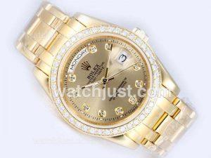 Replica Rolex Masterpiece Automatische volle Gold Diamond Markierungen und Lünette